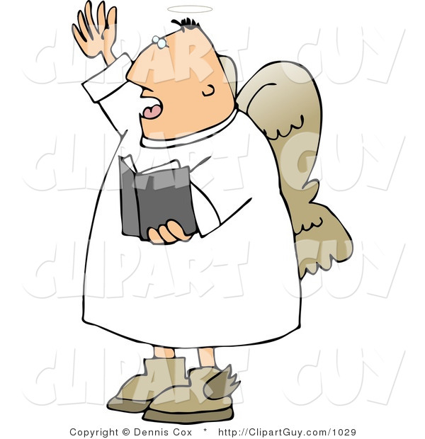 Clip Art of a Male Angel Preaching out to a Church from the Bible
