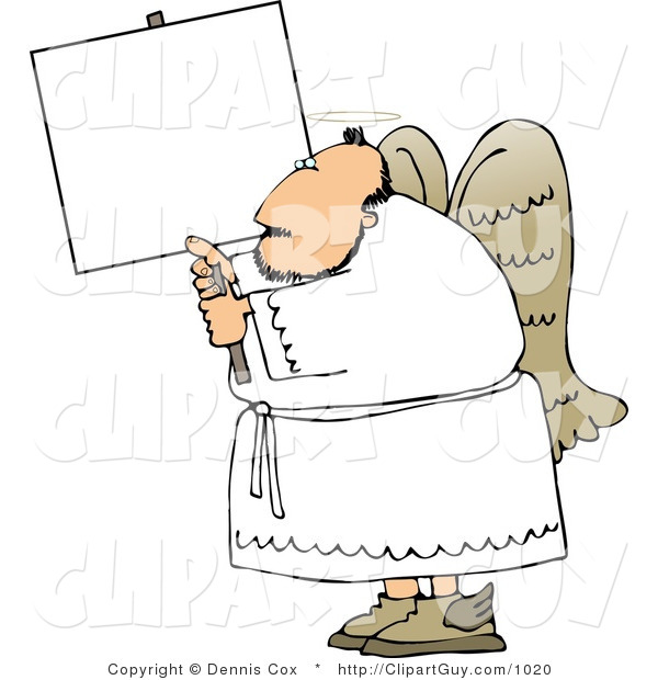 Clip Art of a Male Angel with Wings and Halo Holding a Blank White Sign