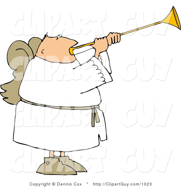 Clip Art of a Male Angel with Wings Blowing a Trumpet