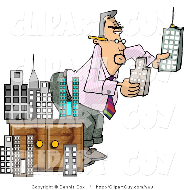 Clip Art of a Male Architect Putting a Styrofoam Model City Together