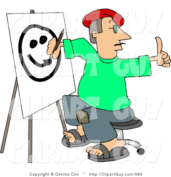 Clip Art of a Male Artist Drawing a Smiley Face on Canvas with a Paintbrush While Giving a Thumbs up to His Model