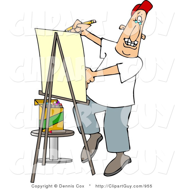 Clip Art of a Male Artist Drawing Caricature on Posterboard
