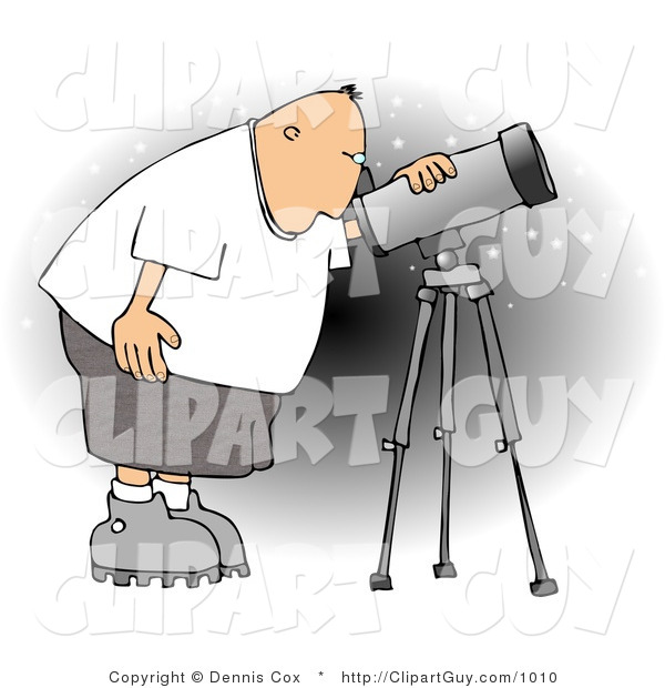 Clip Art of a Male Astronomer Bending to Look at the Sky Through a Telescope