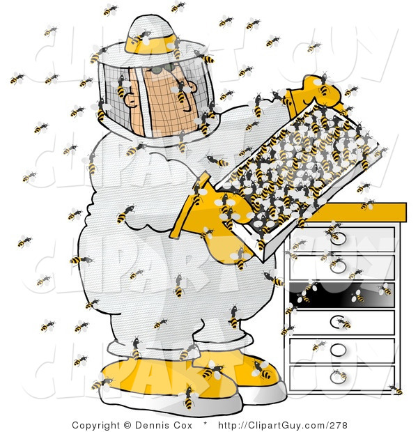 Clip Art of a Male Beekeeper Checking His Apiary (Bee Hives)