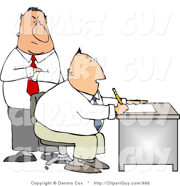 Clip Art of a Male Boss Looking over Employee's Shoulder As He Works at His Desk in His Office
