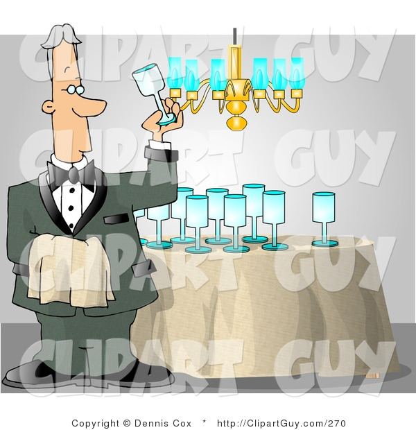 Clip Art of a Male Butler Cleaning and Polishing Wine Glasses Before a Party