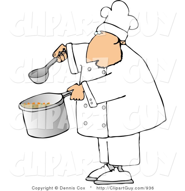 Clip Art of a Male Chef Holding a Spoon and Pot of Soup on a White Background