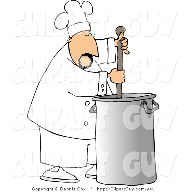 Clip Art of a Male Chef Stirring a Big Silver Pot of Stew