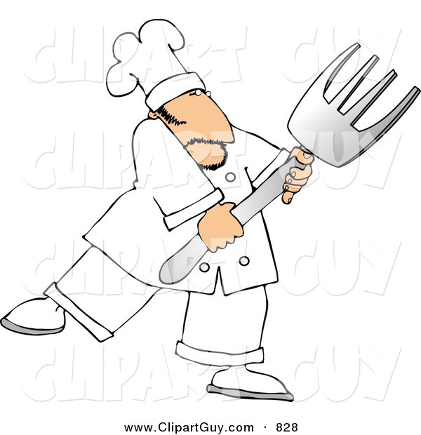 Clip Art of a Male Chef with a Big Fork Looking to the Right