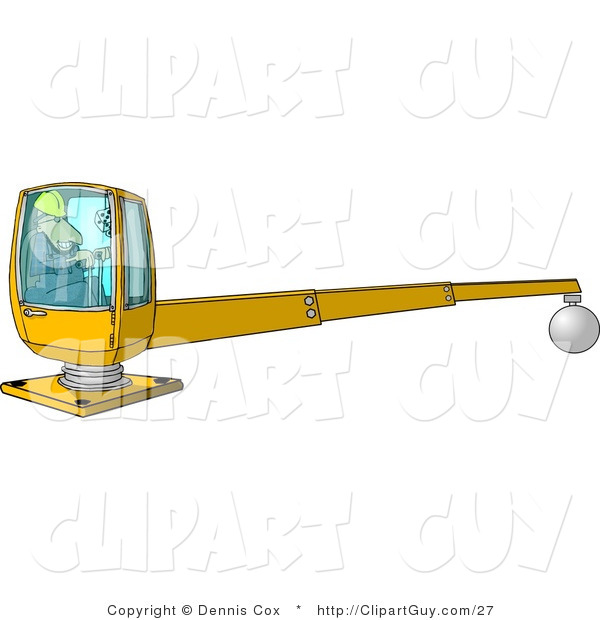 Clip Art of a Male Construction Worker Operating a Heavy Equipment Crane with a Magnetic Ball
