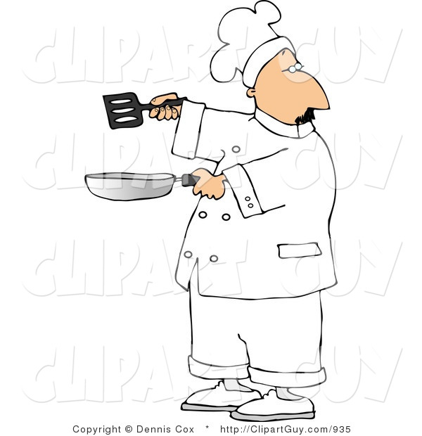 Clip Art of a Male Cook Holding a Skillet and Spatula and Looking over His Shoulder