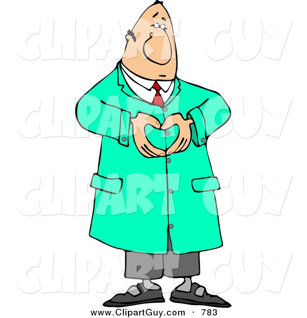 Clip Art of a Male Doctor in Green Scrubs Hand Gesturing a Heart Symbol