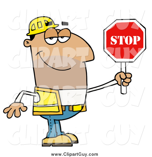 Clip Art of a Male Hispanic Traffic Director Using a Stop Sign