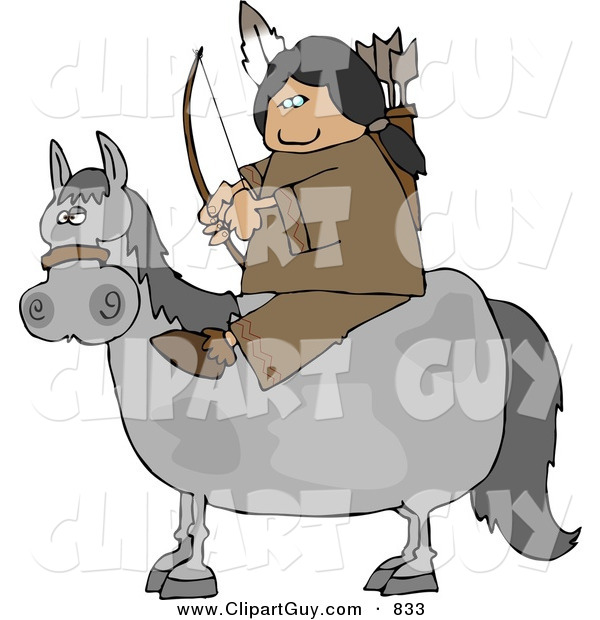 Clip Art of a Male Indian Sitting on a Horse with Bow an Arrow in Hand