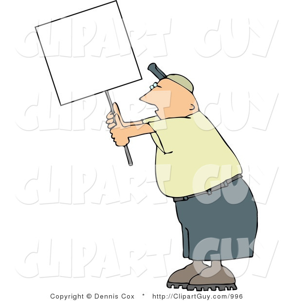 Clip Art of a Male Protester Holding up a Blank White Sign