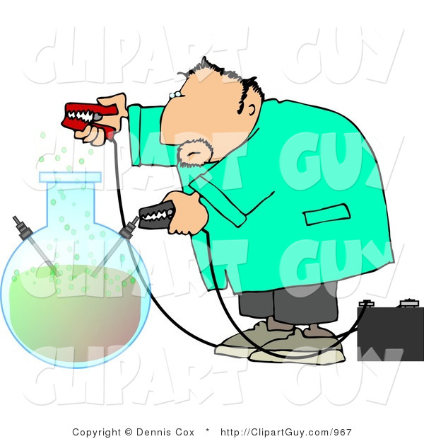 Clip Art of a Male Scientist in a Lab Coat Experimenting with Chemicals