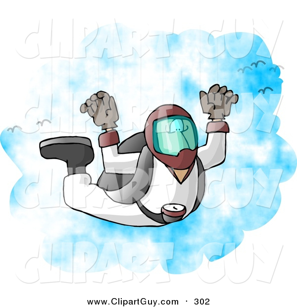 Clip Art of a Male Skydiver Falling from the Sky