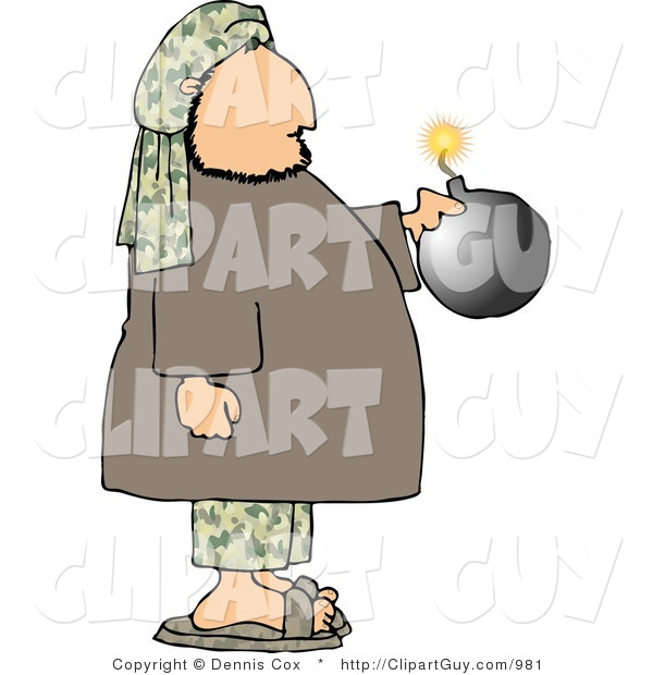 Clip Art of a Male Suicide Bomber Holding a Bomb with a Burning Fuse