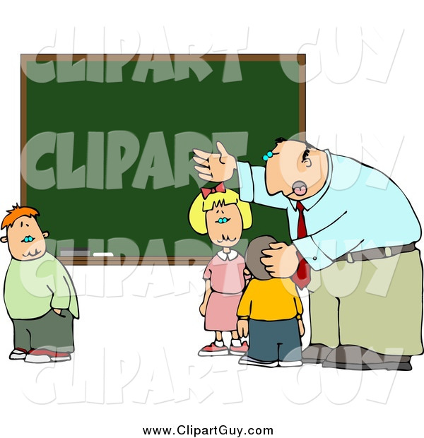 Clip Art of a Male Teacher and School Kids at a Chalkboard