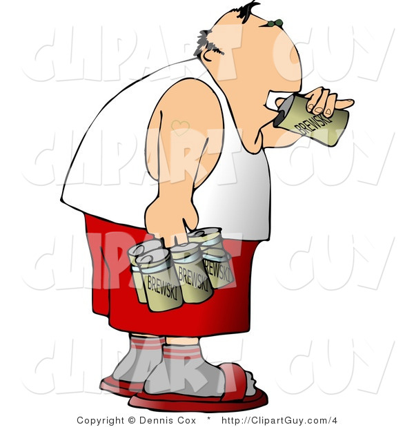 Clip Art of a Man Chugging a Six Pack of Beer