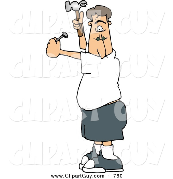 Clip Art of a Man Hammering a Nail into the Wall, Inexperienced