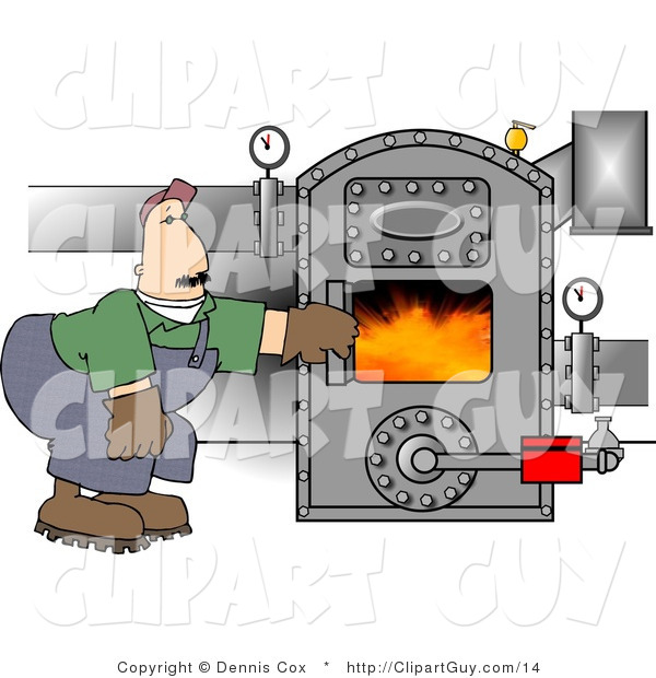 Clip Art of a Man Opening the Door of a Hot Boiler or Oven with Valves