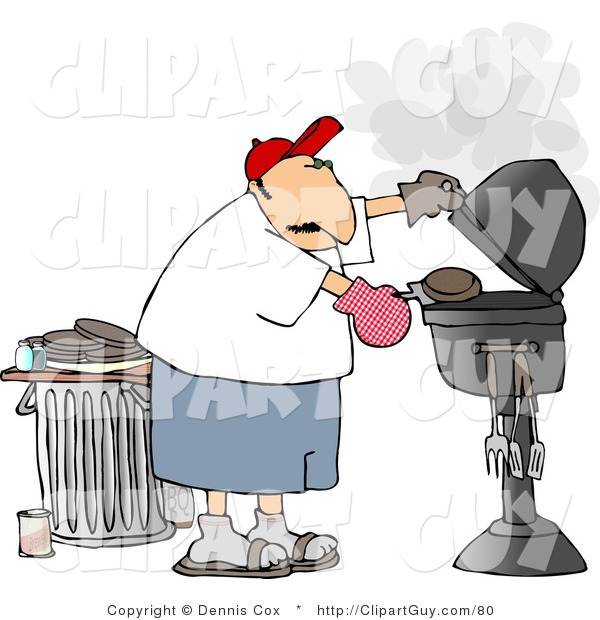 Clip Art of a Man Putting a Hamburger on or Taking It off a Smoking Barbecue (BBQ) Grill