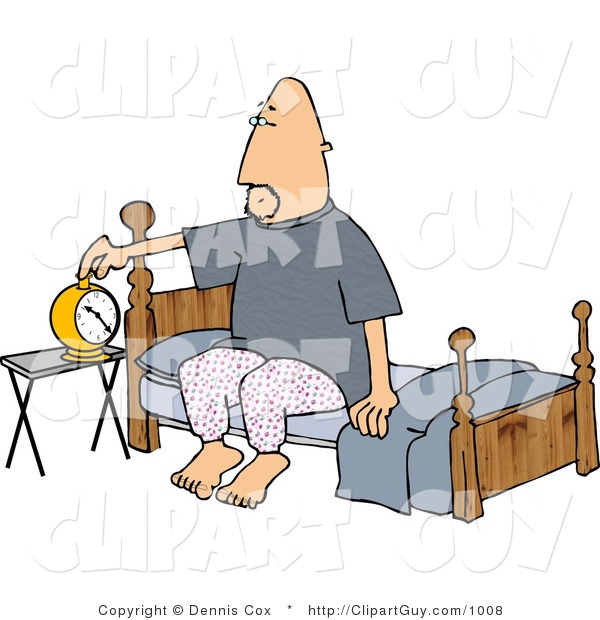 Clip Art of a Man Setting His Alarm Clock Before Going to Sleep in His Bedroom at Night