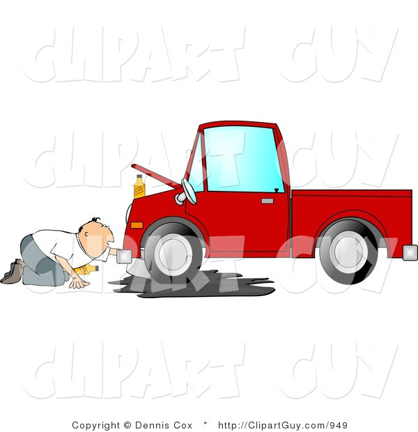 Clip Art of a Man Trying to Give a Leaking Red Pickup Truck an Oil Change