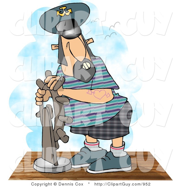 Clip Art of a Middle Aged Ship Captain Navigating His Vessel