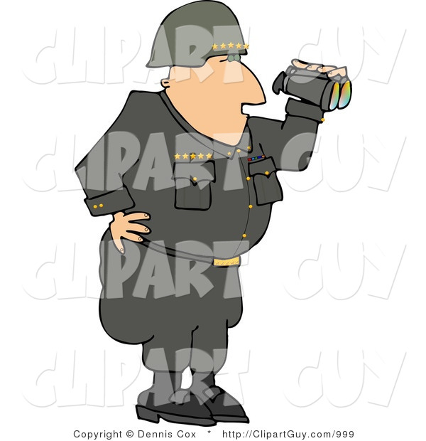 Clip Art of a Military Five Star General Looking Through Binoculars