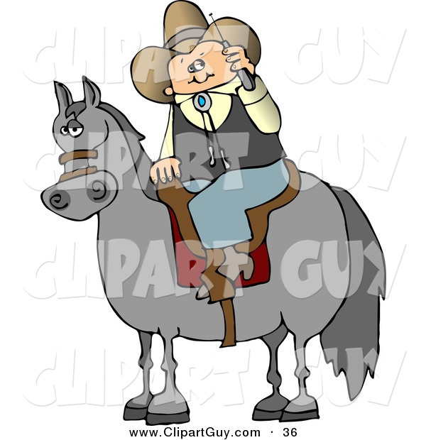 Clip Art of a Modern White Cowboy Sitting on a Saddled Horse While Talking on a Cellphone