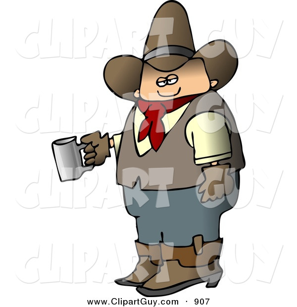 Clip Art of a Morning Caucasian Cowboy Holding a Cup of Fresh Hot Coffee