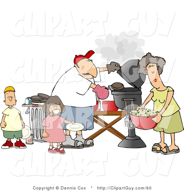 Clip Art of a Mother, Father, Son, and Daughter Grilling Barbecue Hamburgers