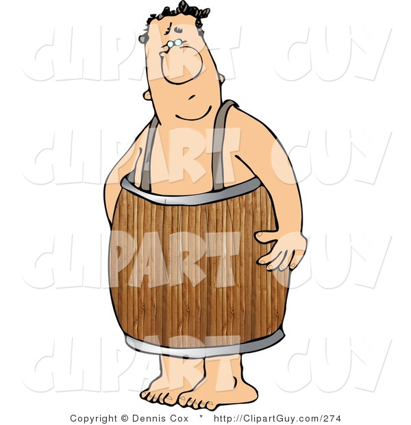 Clip Art of a Naked Man Wearing a Wood Barrel Around His Waist