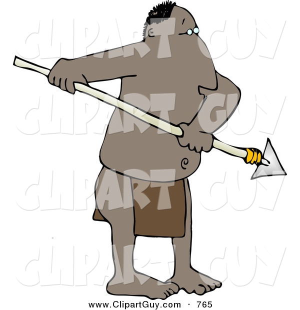 Clip Art of a Native African Man Holding a Sharp Pointed Spear