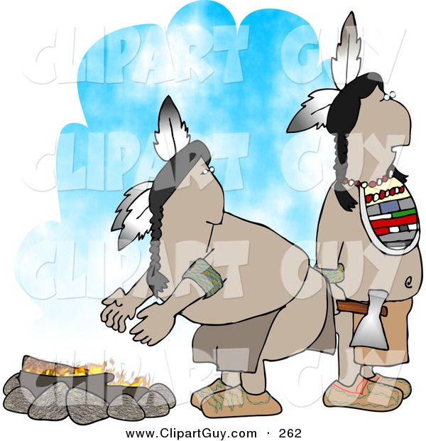 Clip Art of a Pair of Native American Indians Standing Alertly Beside a Campfire