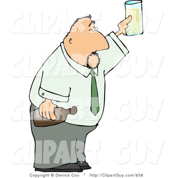 Clip Art of a Partying Businessman Holding a Glass and Bottle of Beer Raised High