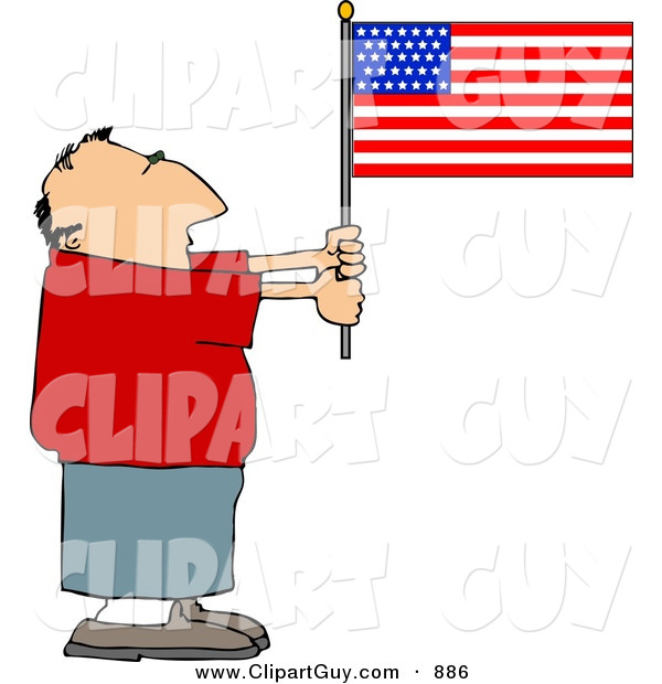 Clip Art of a Patriotic Caucasian Man Holding an American Flag