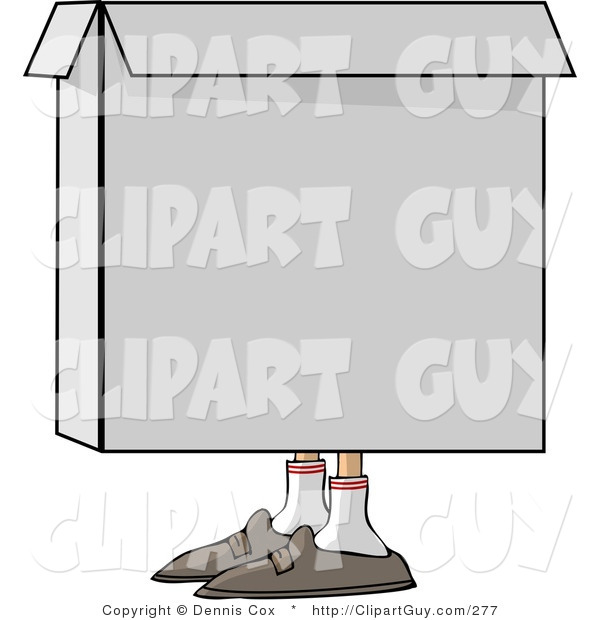 Clip Art of a Person Hiding in a Square Cardboard Box