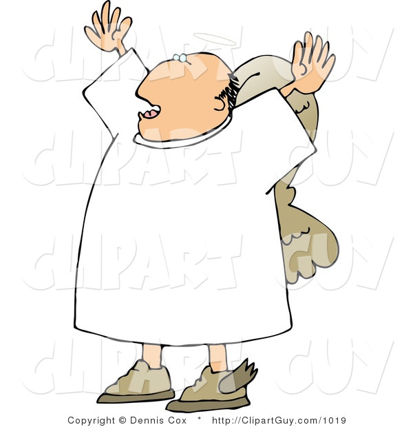 Clip Art of a Preaching Angel, His Arms up
