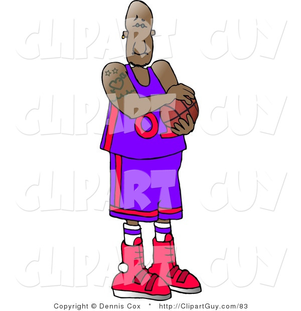 Clip Art of a Professional Black Basketball Player