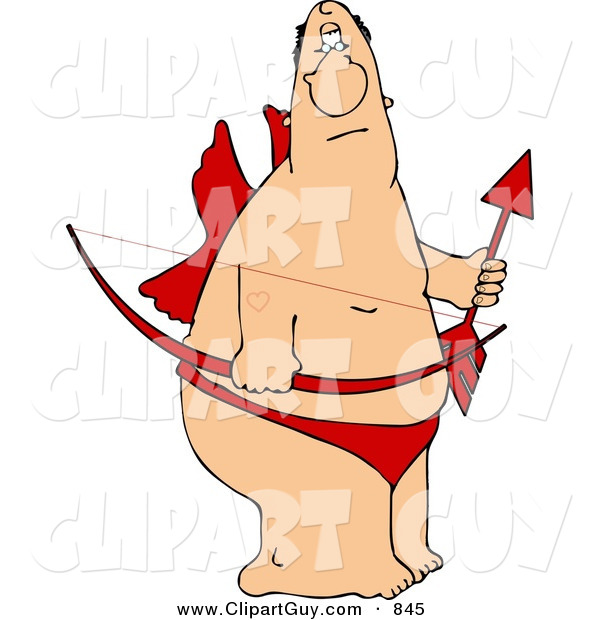 Clip Art of a Pudgy Valentine Cupid Man with Wings, Bow, an Arrow