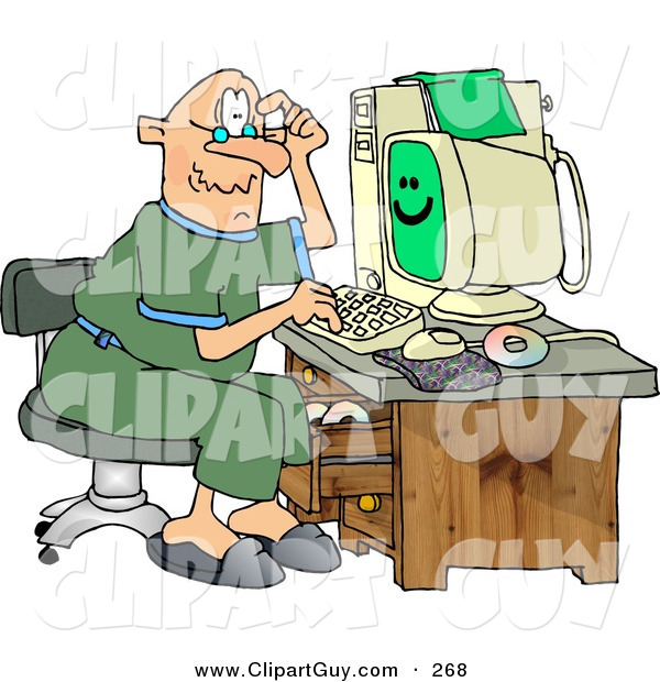 Clip Art of a Puzzled Caucasian Grandpa Using a Computer