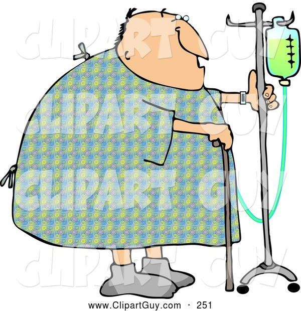 Clip Art of a Recovering Chubby Male Hospital Patient Walking Around with a Cane and an Intravenous Injection Drip Line Stroller