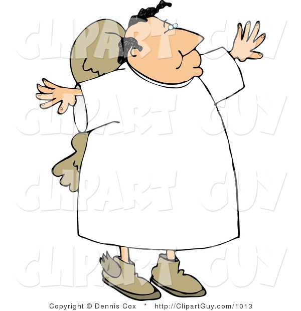 Clip Art of a Religious Angel Holding Arms out