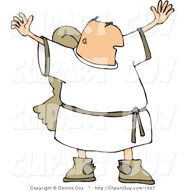 Clip Art of a Religious Male Angel with Wings Waving Arms and Trying to Grab Everyone's Attention