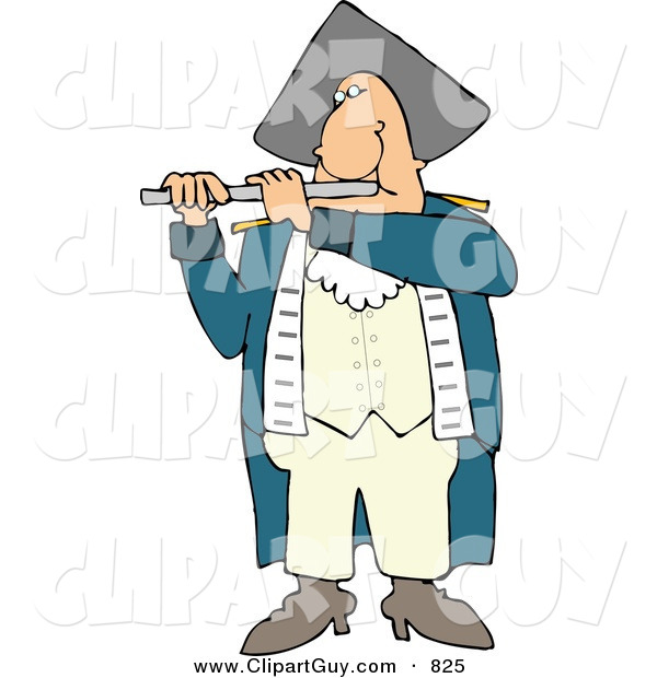 Clip Art of a Revolutionary War Flutist Playing a Flute and Looking Forward