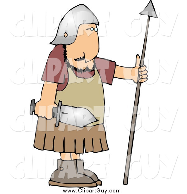 Clip Art of a Roman Army Soldier with a Sword and Spear