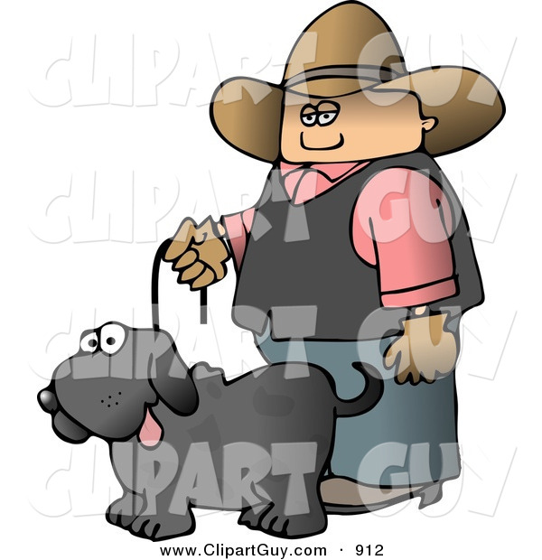 Clip Art of a - Royalty FreeCowboy Walking a Black Pet Dog on a Leash